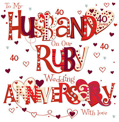 "Husband Ruby 40th Wedding Anniversary Greeting Card 8"" Square Handmade Cards"
