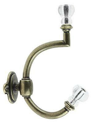 LOTof 2 Hooks Clear Glass Knob Antique Brass Hook FREE SHIPPING