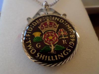 Vintage Enamelled Two Shilling Coin 1948 Pendant & Necklace. Birthday Xmas Gift