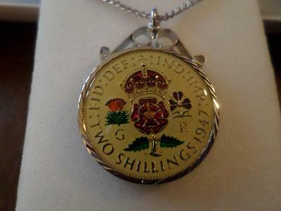 Vintage Enamelled Two Shilling Coin 1947 Pendant & Necklace. 70Th Birthday Gift