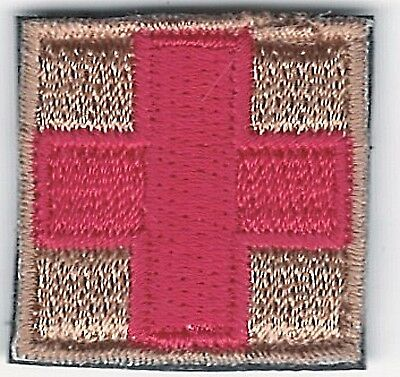 "1"" Red on Tan Medic Red Cross Paramedic Patch VELCRO® BRAND Fastener Compatible"