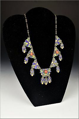 Late 19th Early 20th Century Middle Eastern Silver Necklace w/ Coral & Enamel