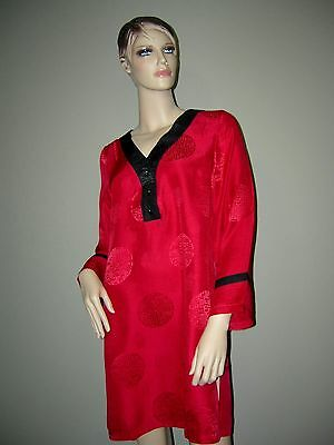 Womens 100% Pure SILK Red  Black Nightshirt NWT XS S M  L XL Sleepwear