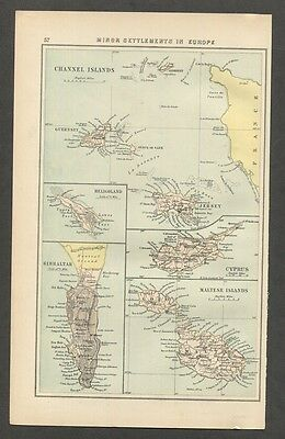 c1876 Antique Map of Cyprus Malta Channel Islands