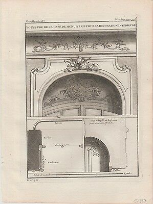 1737 Antique Engraving - Details of Decorative Arched Window  - Jacques Blondel