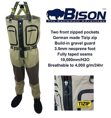 Clearance Bison Zip Front Breathable Chest Waders