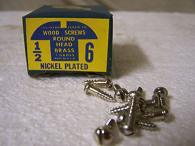 """#6 x 1/2"""" Nickel Plated Brass Screws Round Head Slotted Made in USA  Qty. 144"""