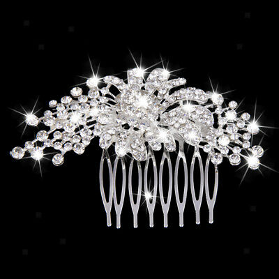 Wedding Crystal Rhinestone Diamante Flower Hair Comb Bridal Headpiece
