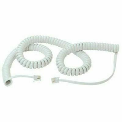 RJ10 to RJ10 4P4C Coiled Telephone Handset Cable Curly Lead Cord Wire White 6.4m
