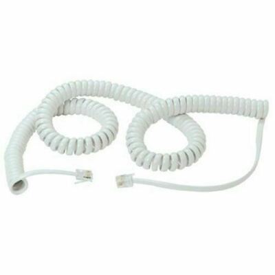 Replacement Telephone Handset Cords Coiled Curly Cable Lead RJ10 White 6.4m