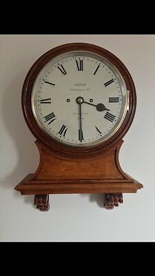 Rare Antique Dent Fusee Striking Wall Clock, 9 Inch Dial