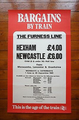 1981 Furness Line Hexham Newastle Morecambe Original Railway Travel Poster