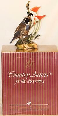 California Quail And California Poppy Bird Figurine By Country Artists CA02672
