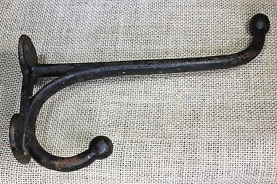 "7 3/4"" Coat tack harness double hook vintage rustic rust texture old large barn"