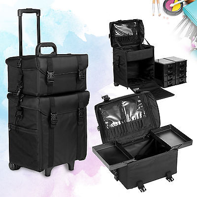 2 in 1 Makeup Case Rolling Hairdressing Bag Beauty Trolley Nail Cosmetic Box