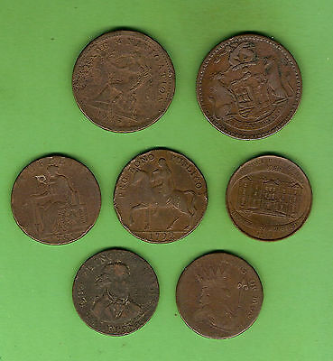 #C15.  SEVEN  UNITED KINGDOM  TOKENS - 1790s to early 1800s