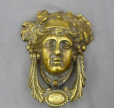 Antique Vintage Mask Door Knocker Heavy Ornate Solid Brass Large Detailed