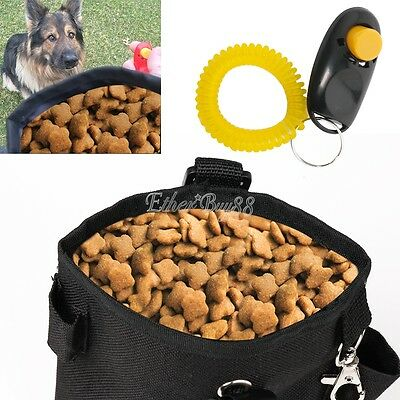 Pet Dog Puppy Treat Bag Training Pouch Walk Snack Carrier Storage With Clicker
