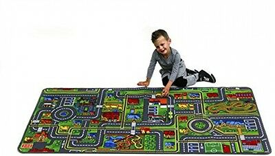 "Kids Giant Roadmap Carpet Rug 36""x79"" Play with Cars Trucks 3'X6'7"" Durable Fun!"