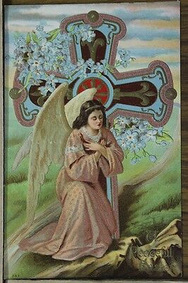 """ANTIQUE 1910's EASTER POSTCARD """"Embossed Angel & Holy Cross"""" Unposted"""