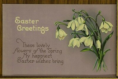 """ANTIQUE 1910's EASTER POSTCARD """"Flowers Of The Spring"""" Unposted"""