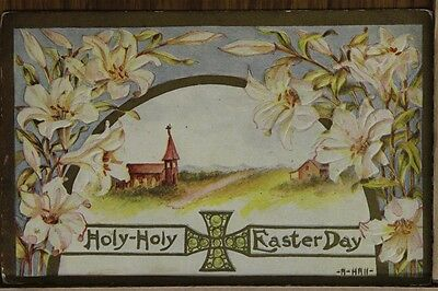 """ANTIQUE 1910's EASTER POSTCARD """"Holy Easter Greeting"""" Posted"""