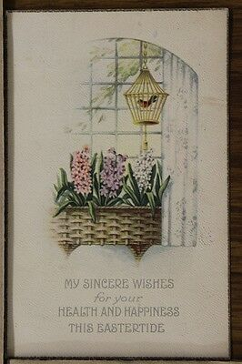 """ANTIQUE 1910's EASTER POSTCARD """"Songbird In Cage"""" Posted"""