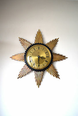 50S Stylish Vintage Mid Century Original Metamec Sunburst Brass Wall Clock