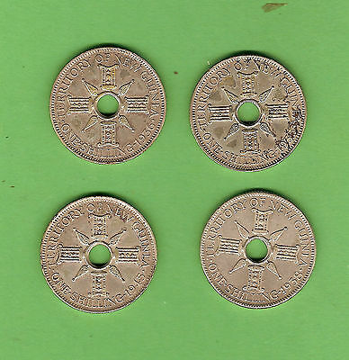 #c16.  New Guinea Silver Shilling Coins - 1935, 1936, 1938 & 1945