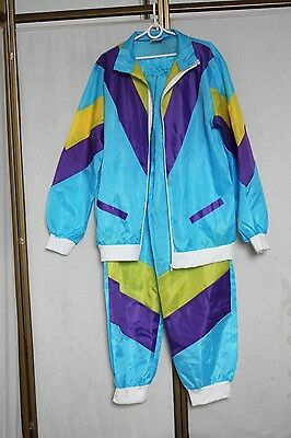 Vintage 80s 90s Thin Shell Full Tracksuit Track Jacket + Bottoms L