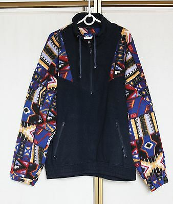 Vintage 80s 90s Aztec Abstract Print Fleece Sweater Jumper Pullover Jacket XL