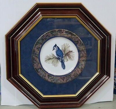 Christine Marshall Whispering Pines - Bluejay Collector Plate Beautifully Framed