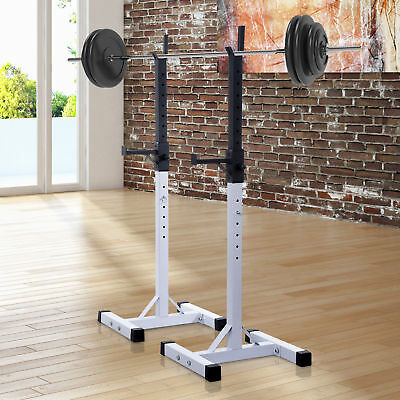 "67"" Portable Squat Stand 2 Bars White Black Adjustable Stable Free Standing"