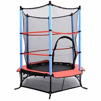 "55"" Children's Trampoline w/ Safety Protect Enclosure Outdoor Backyard Play"