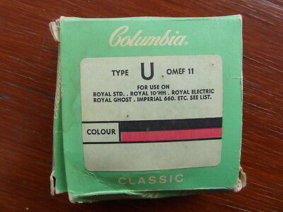 Vintage Columbia Classic Type U OMEF 11 Typewriter Ribbon (Black/Red) Boxed
