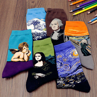 1 Pairs Fashion Soft Men Women Creative Painting Van Gogh Mona Lisa Print Socks