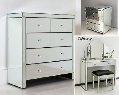 New Mirrored Bedside Tables Chest of Drawers Silver Shabby Chic Mirror Furniture