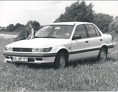 Mitsubishi Lancer Original Press Photograph With Pretty Girl Along Side 1990