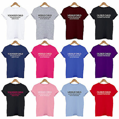 Sibling Rules T-Shirts, Youngest, Middle,Oldest Baby, Kids, Adult Matching Set