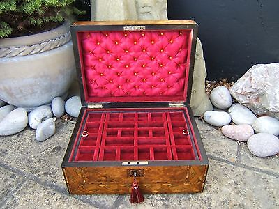Terrific 19C Figured Walnut Inlaid Antique Jewellery Box - Fab Interior