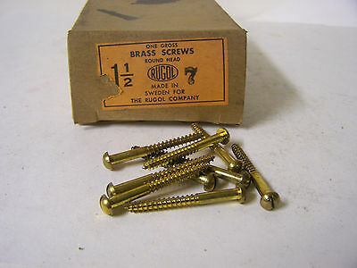"""#7 x 1 1/2"""" Wood Screws Solid Brass Round Head Slotted Made in Sweden Qty.130"""
