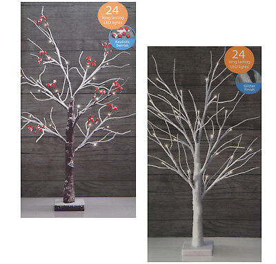 Shabby-Chic Christmas Winter Table Top LED Light Glitter Tree Snowy Berry