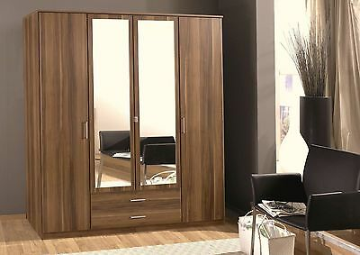 Qmax Osaka 2/3/4 & Corner Door Wardrobe Range Walnut - German Made Furniture