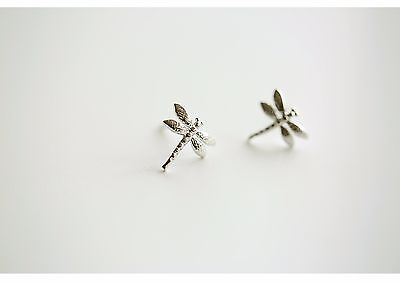 Rhodium Plated Solid 925 Sterling Silver Small Dragonfly Stud Earrings Gift Bag