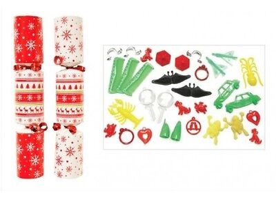 50 x Christmas Catering Crackers 10 Inch Red & White Christmas Nordic Tableware