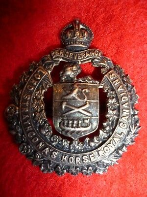 Lord Strathcona's Horse Officer's Hallmarked Silver Collar Badge KC - Canada WW2