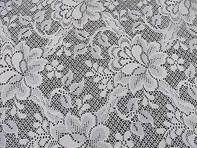 Vintage Rectangular Tablecloth White Nottingham Lace 105 x 60 inches Cottage