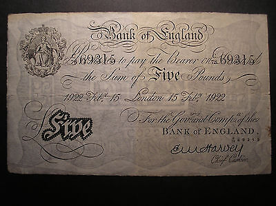 Great Britain,Bank of England 5 Pounds 1922