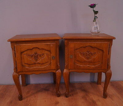 1007 !! Superb Oak Bedside Tables In Louis Xv Style !!