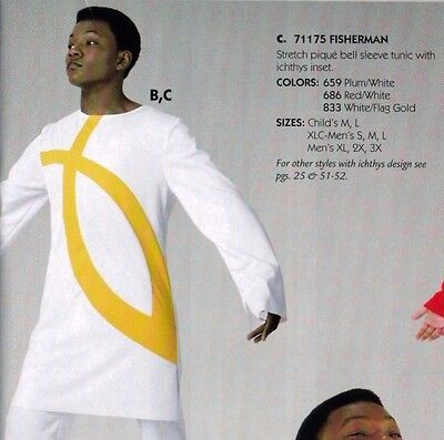 NWT boys/mens Praisewear Dance Liturgical Bell Sleeve Tunic white/flag gold